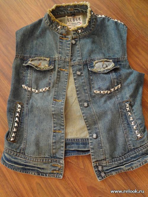 Модная жилетка из старой куртки.