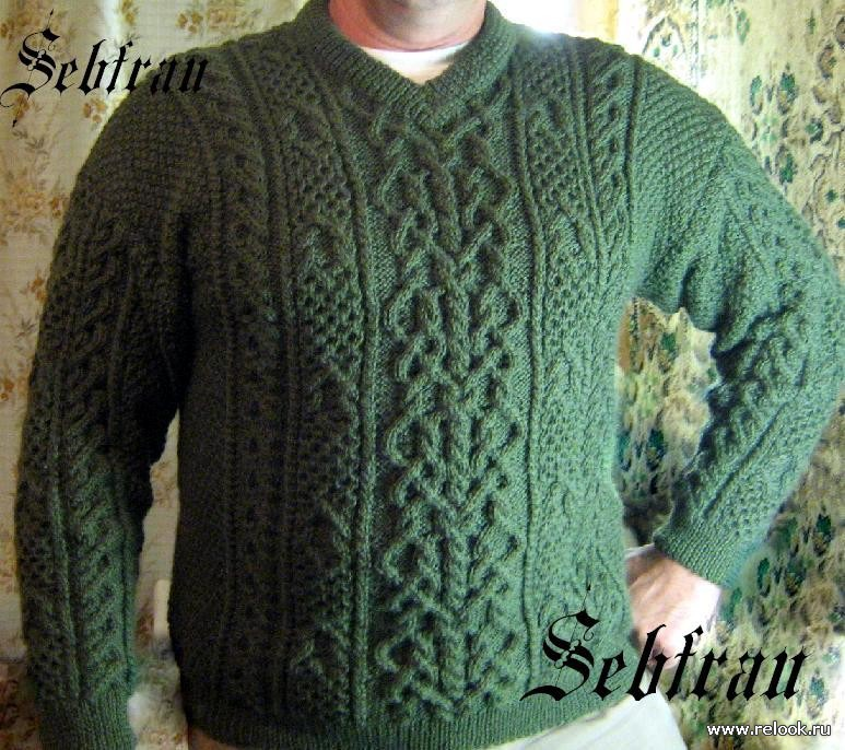 Вязание мужского свитера с аранами спицами 46