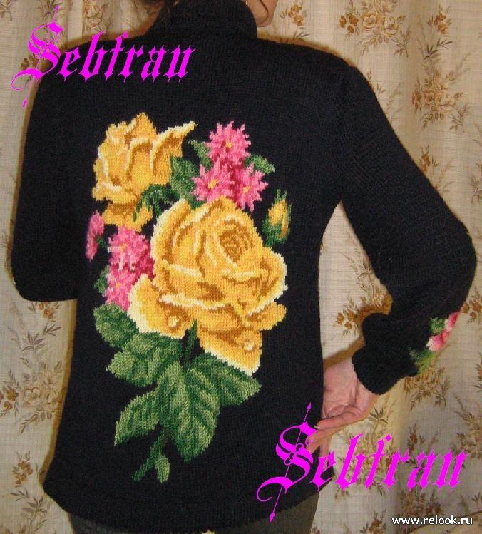 Жакет с цветком вязание спицами. Обсуждение на LiveInternet
