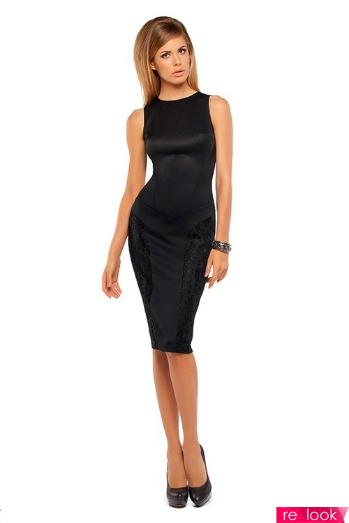 Облегающее черное платье по колено