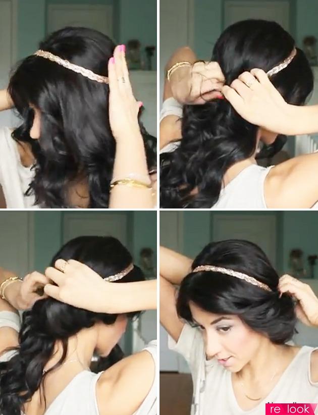 как сделать на повязку волосы