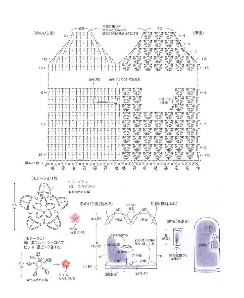 Вязание крючком схемы и описание варежек спицами