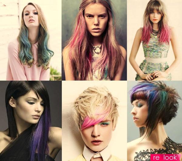 цветные пряди на волосах