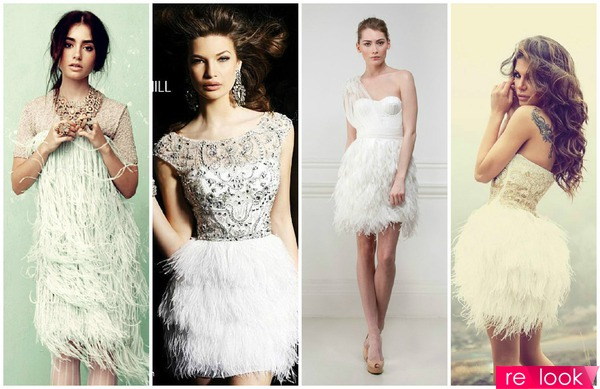 Платья низ из перьев