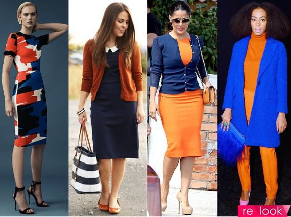 Сочетание синего цвета с оранжевым в одежде