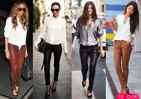 Кожаные брюки с чем носят