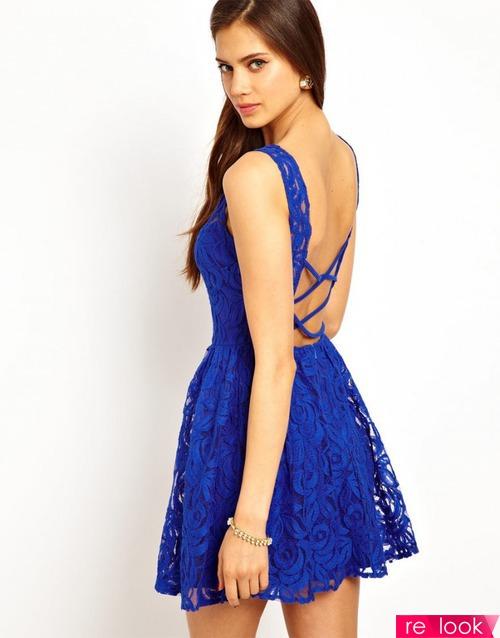 Синие платья с открытой спиной