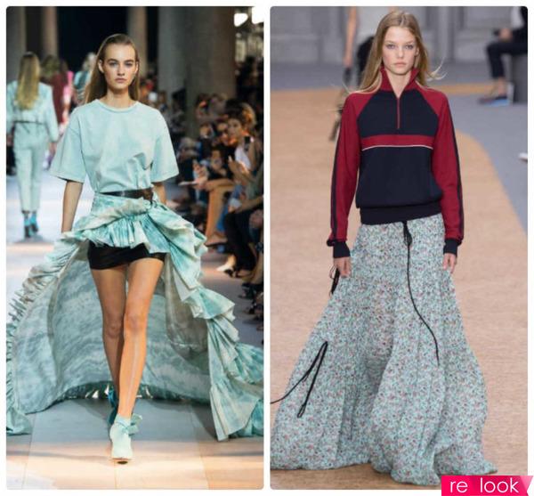 Комбинированная юбка разных тканей