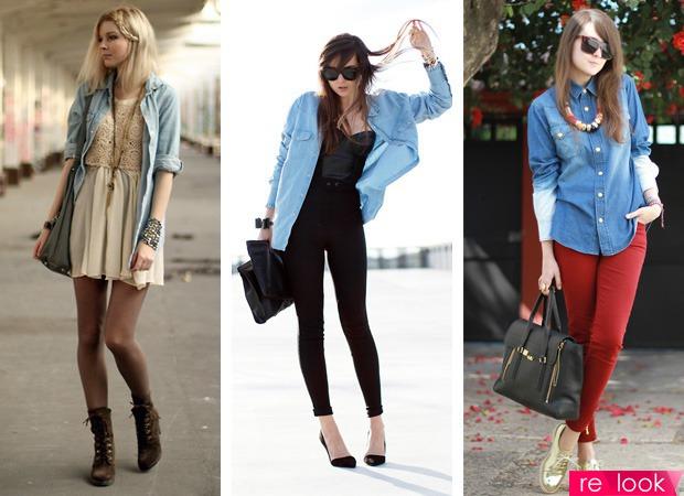 джинсовая рубашка сочетания